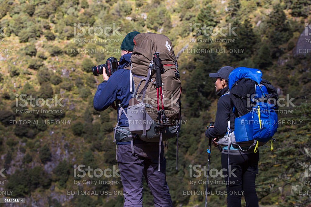 Photographer and partner, Nepal stock photo