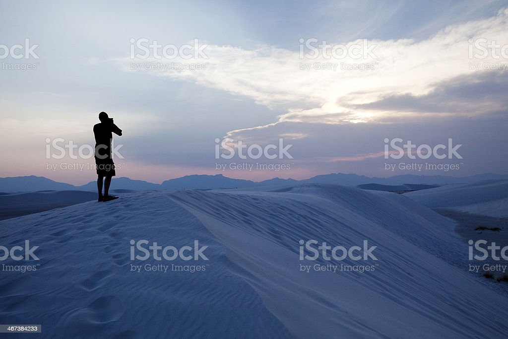 Photographer at White Sands National Monument stock photo