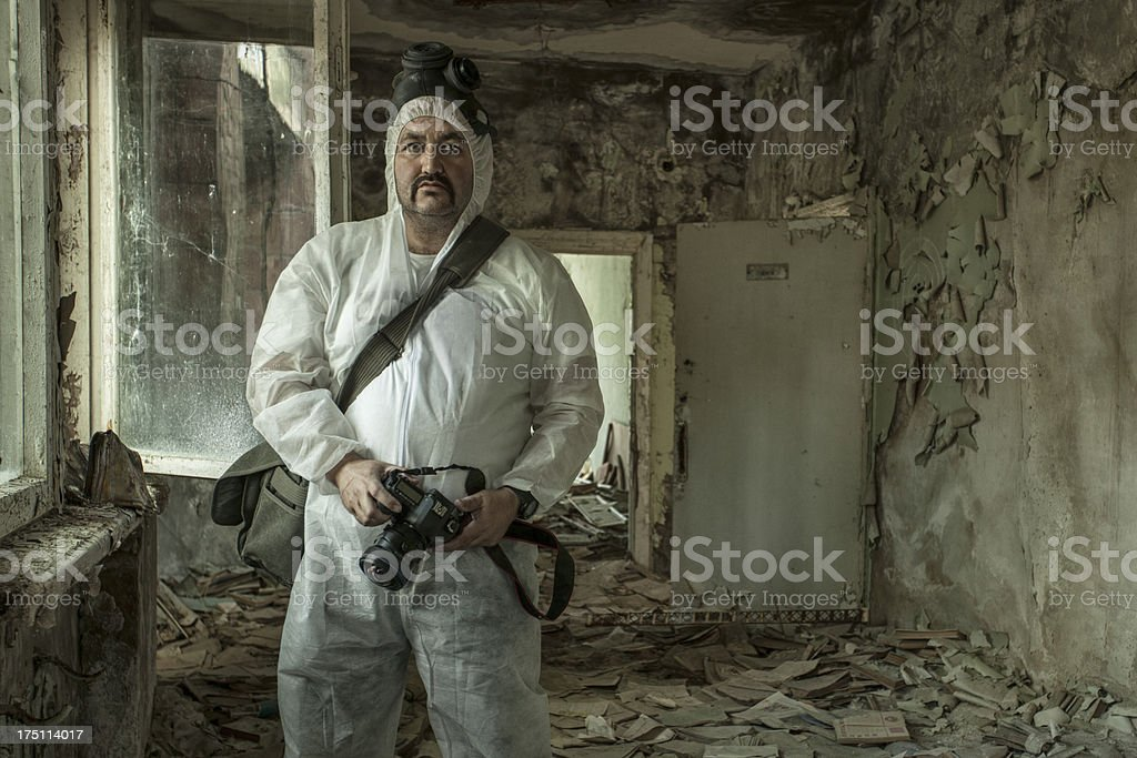 Photographer at work in Chernobyl stock photo