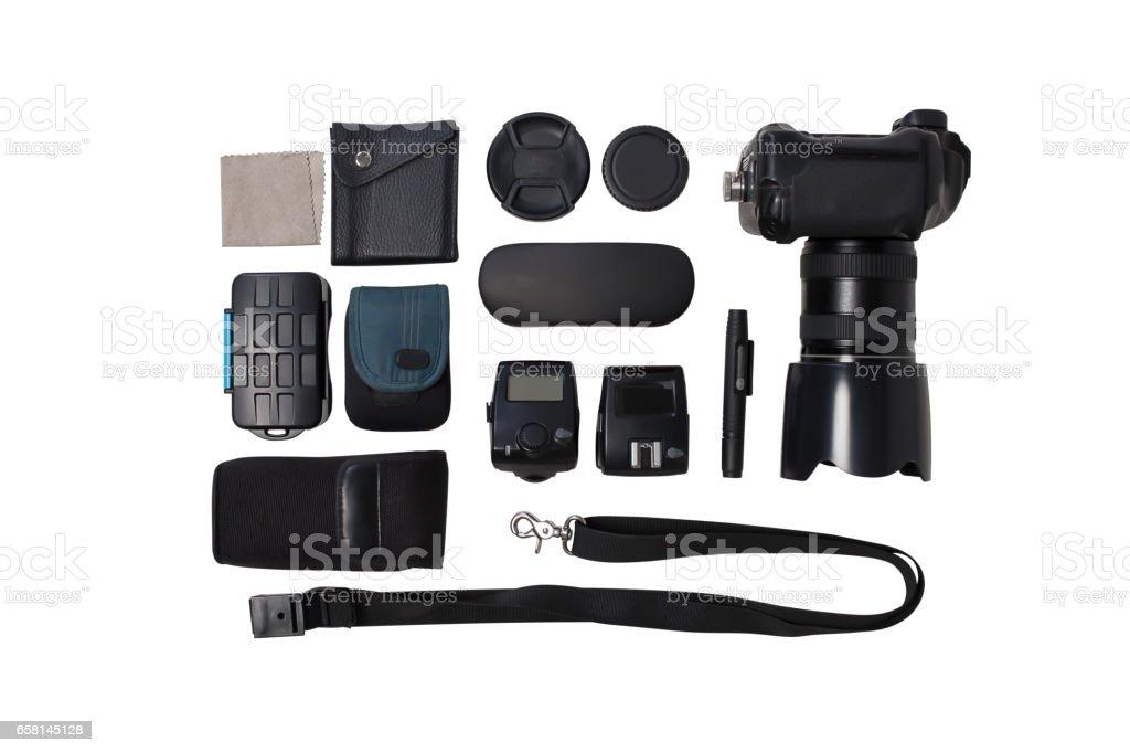 Photographer camera equipment on white background stock photo