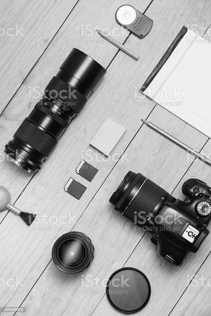 Photographer flat lay BW stock photo