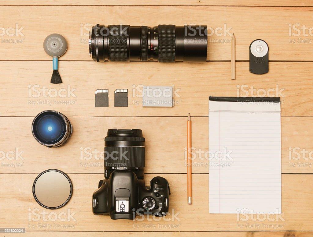Photographer flat lay stock photo