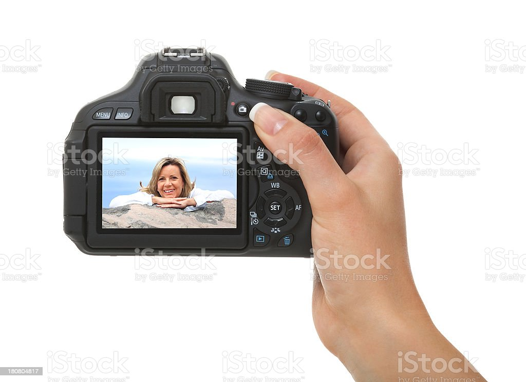 Photographer Holding a Camera royalty-free stock photo