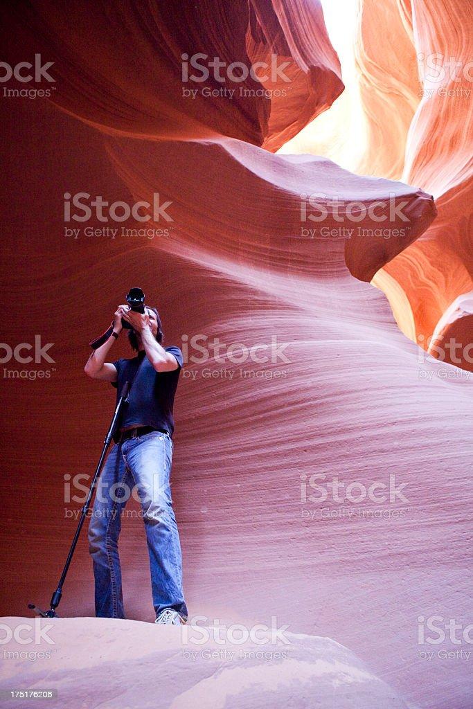 Photographer in Antelope Canyon stock photo