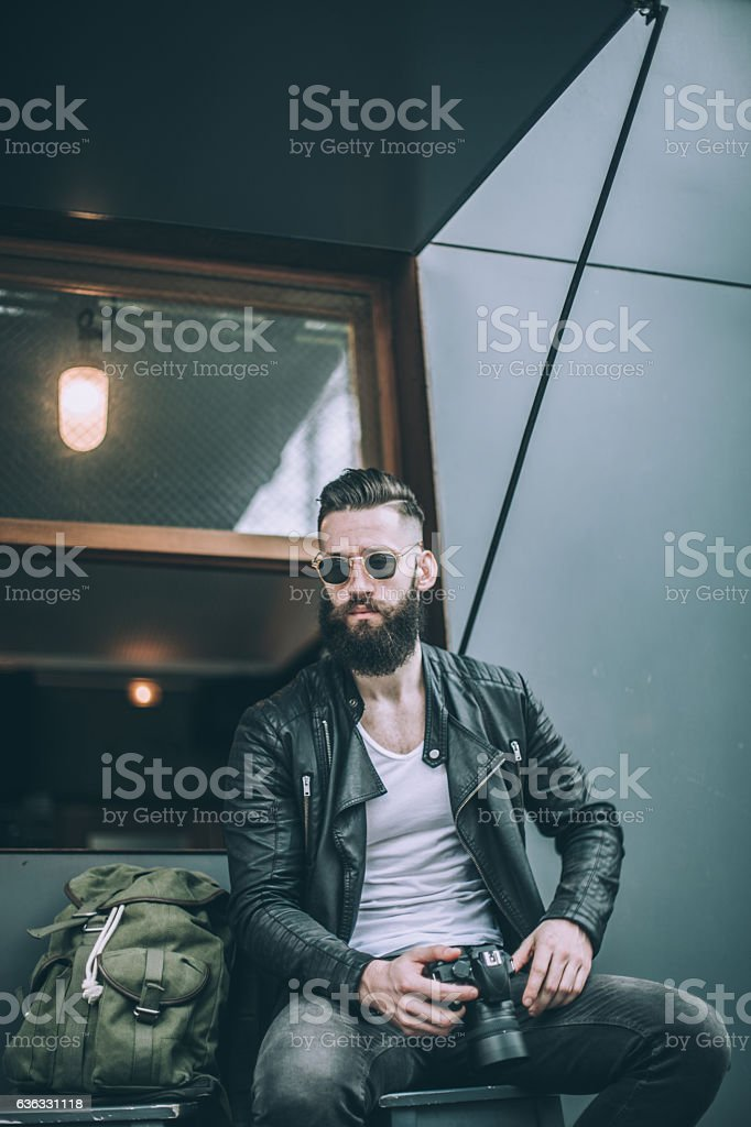 Photographer in cafe stock photo