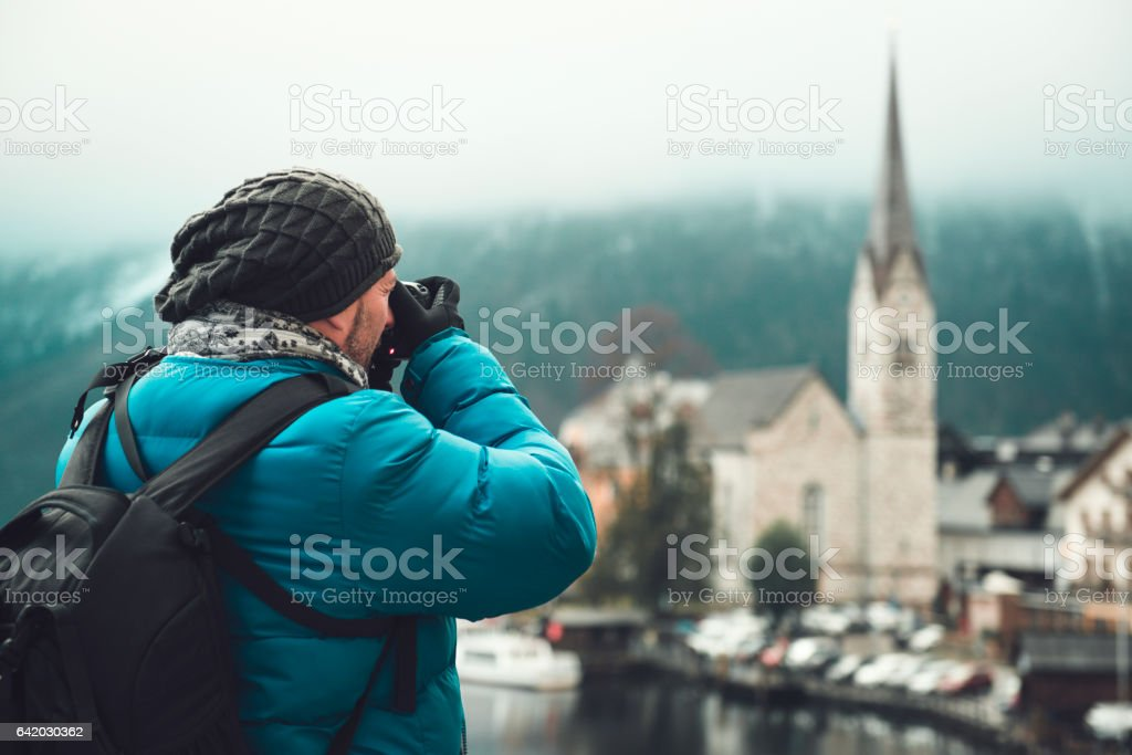 Photographer in Hallstatt Austria stock photo