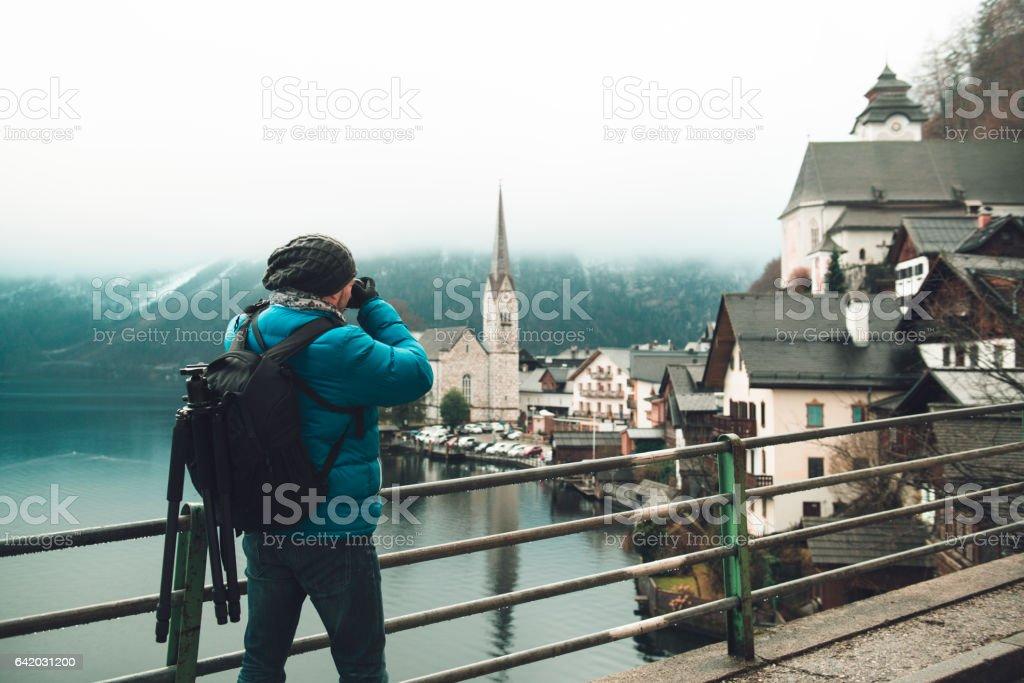 Photographer in Hallstatt Austria stock photo