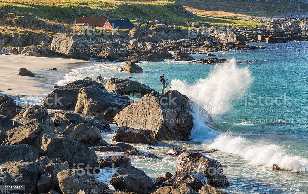 Photographer in Lofoten, Norway stock photo