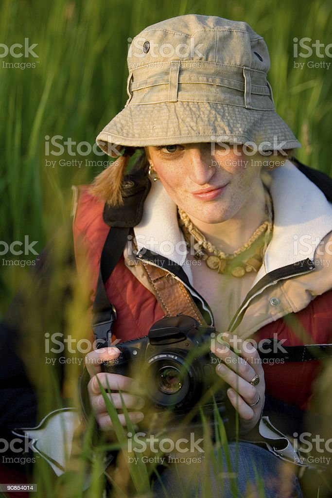 Photographer in the Grass stock photo