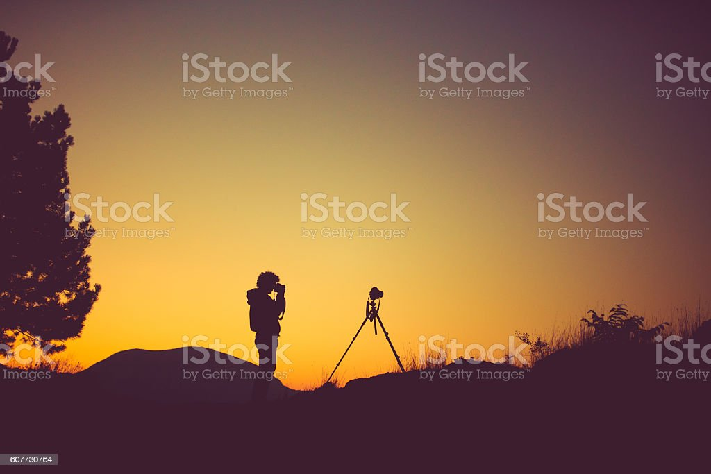 Photographer in the nature stock photo