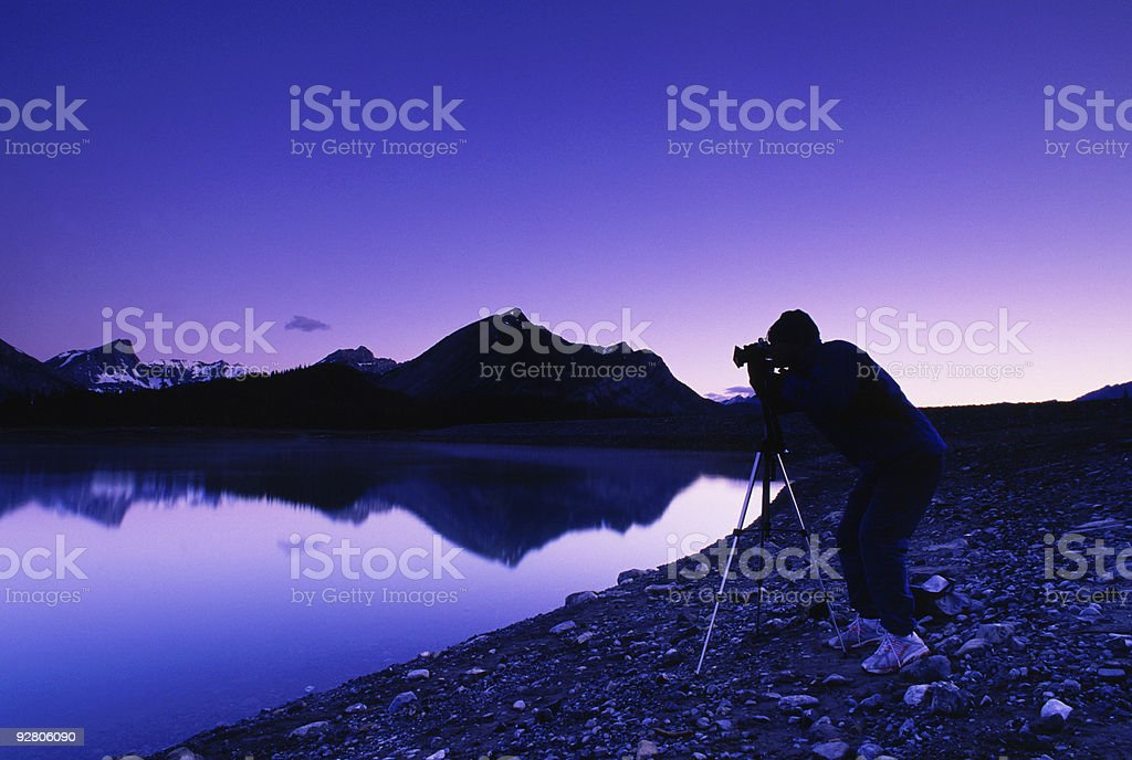 Photographer in the Rocky Mountains royalty-free stock photo