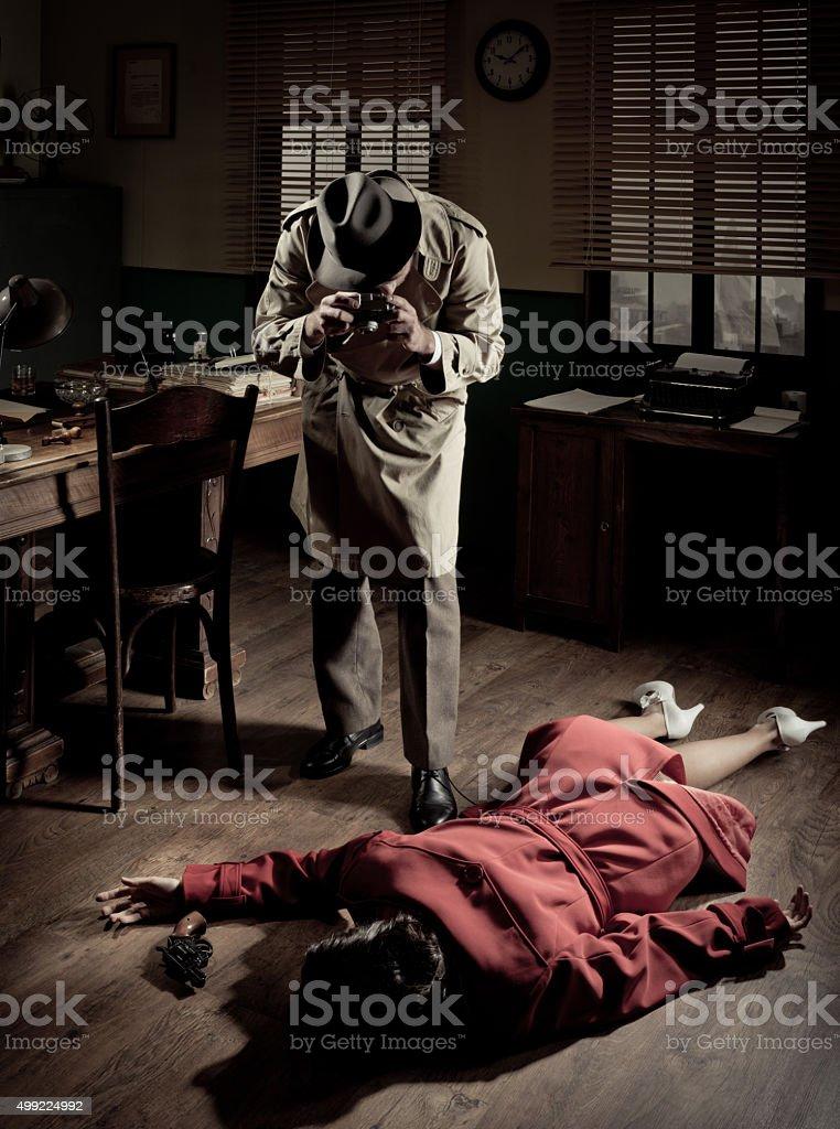 Photographer on crime scene stock photo