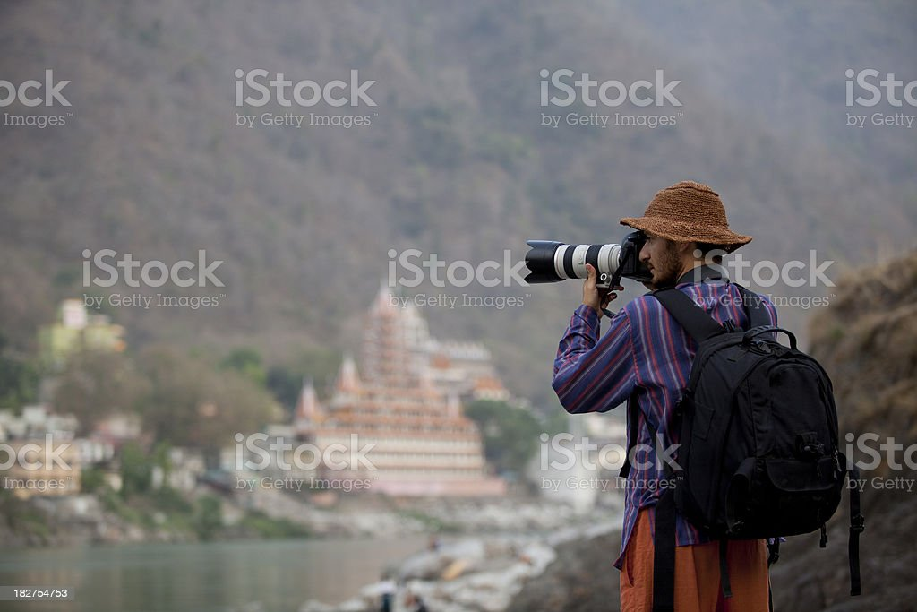 Photographer on duty in Himalayas India royalty-free stock photo