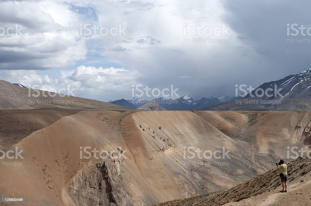 Photographer on Plateau Mora Ladakh India royalty-free stock photo