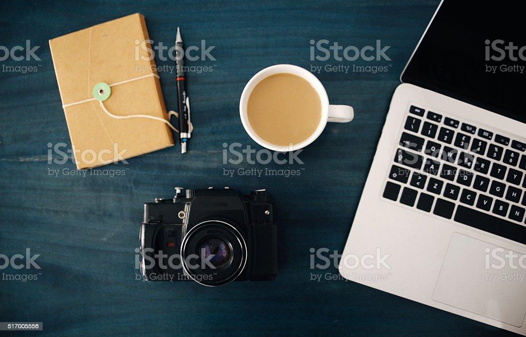 Photographer or designer workspace stock photo