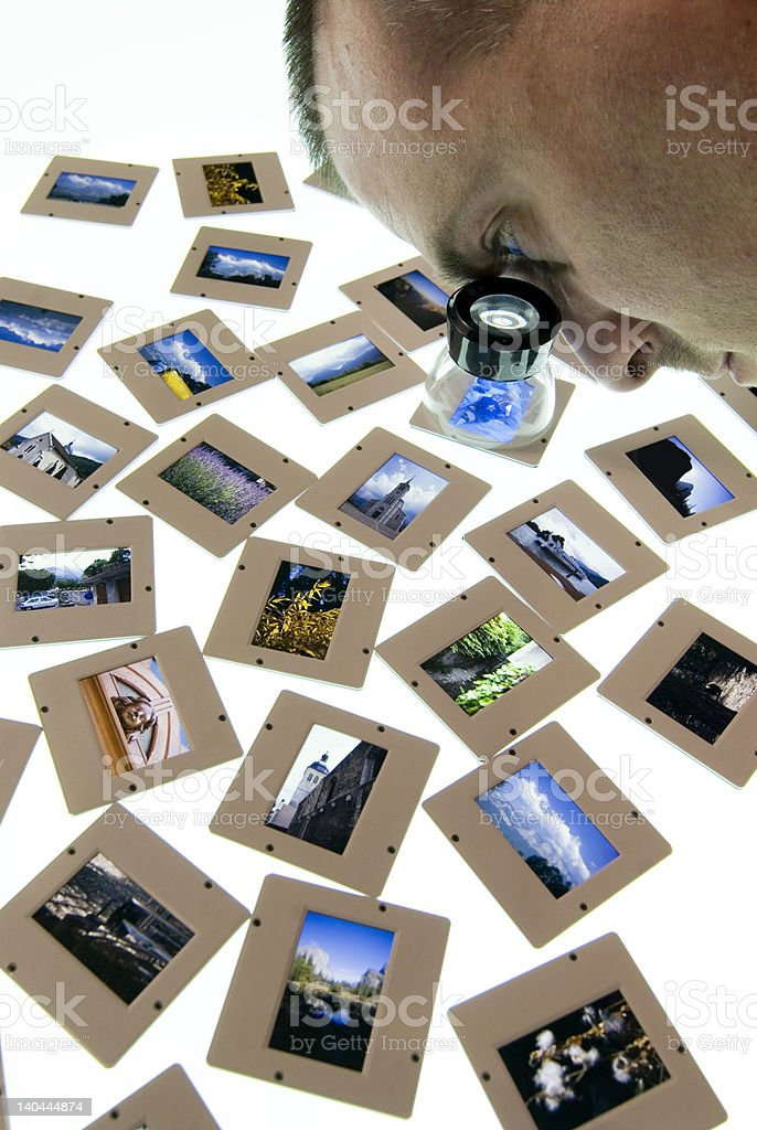 Photographer sorting images on lightbox royalty-free stock photo