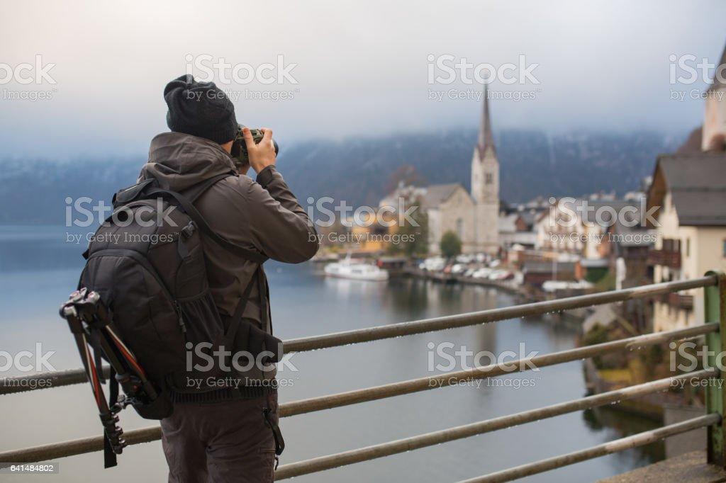 Photographer take picture of hallstatt stock photo