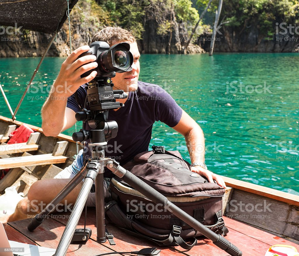 Photographer takes beautiful nature stock photo