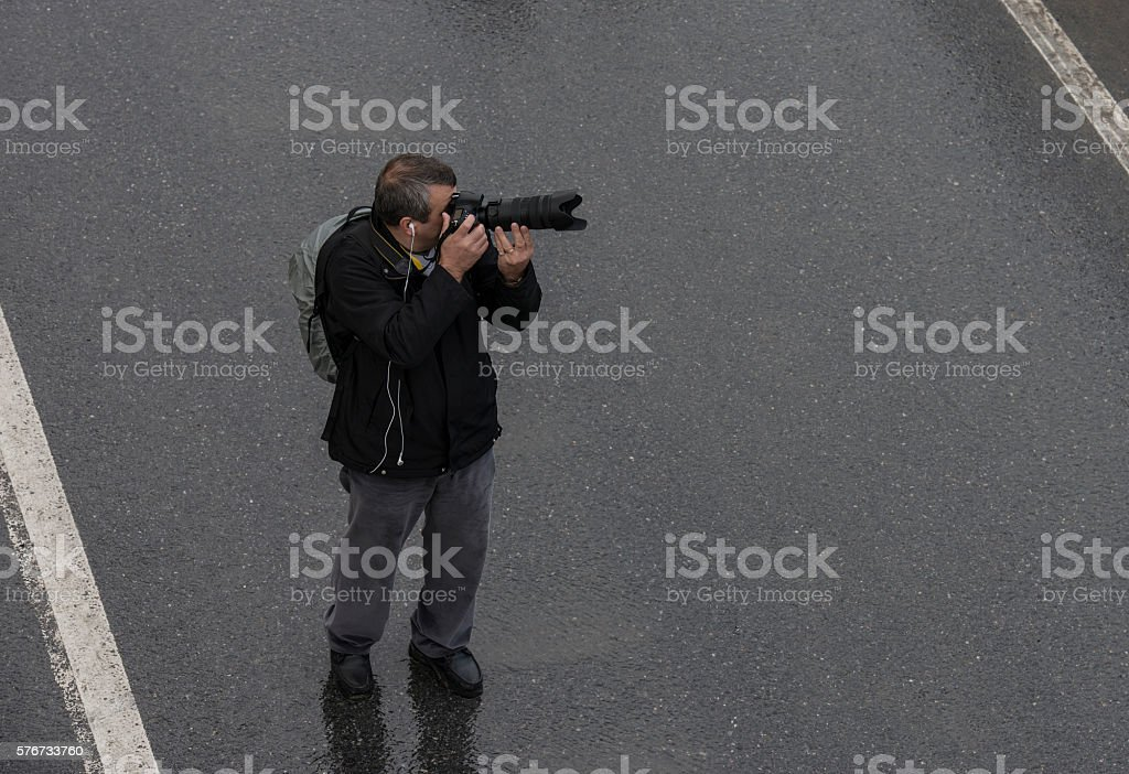 Photographer taking pictures in city of Istanbul stock photo