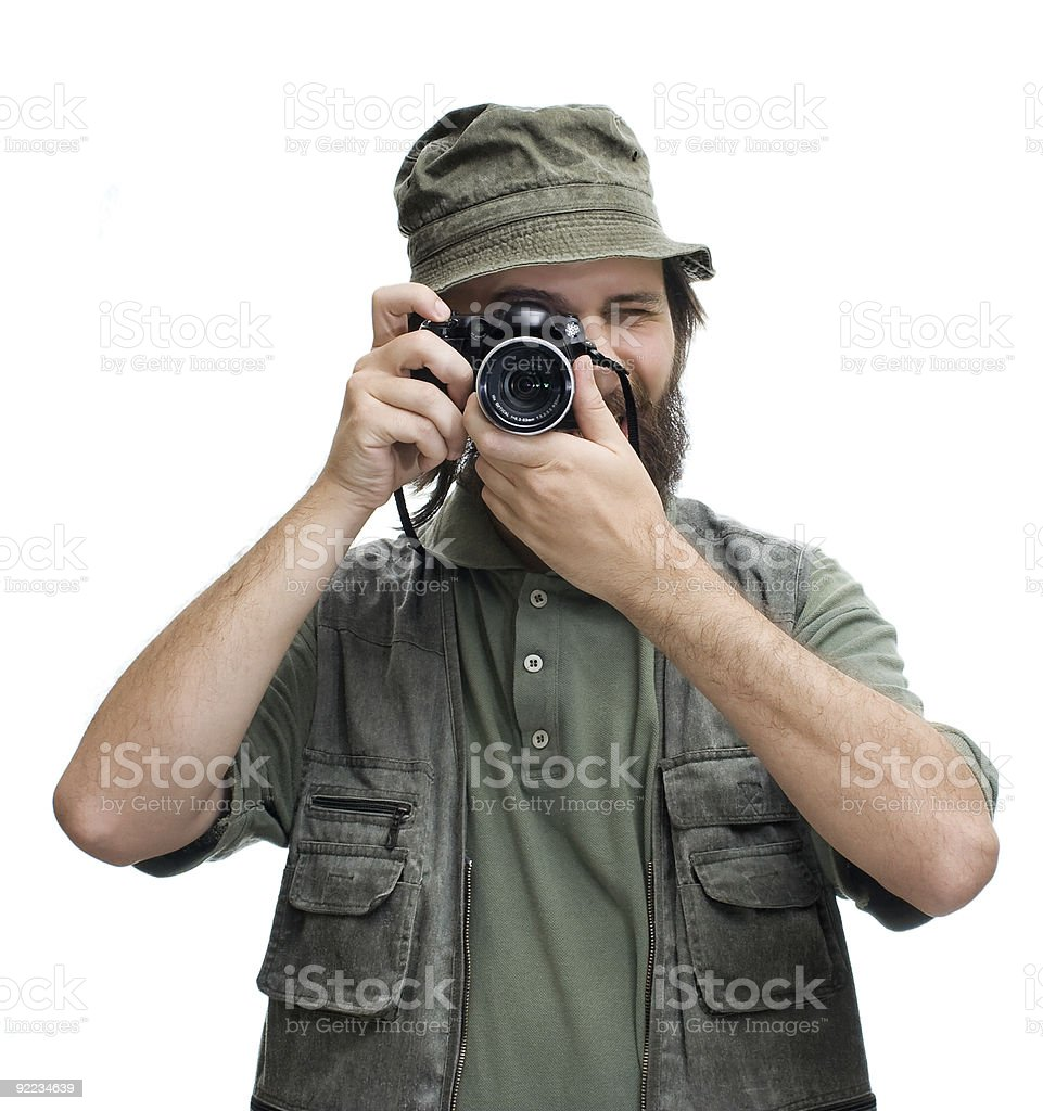Photographer tourist with camera royalty-free stock photo