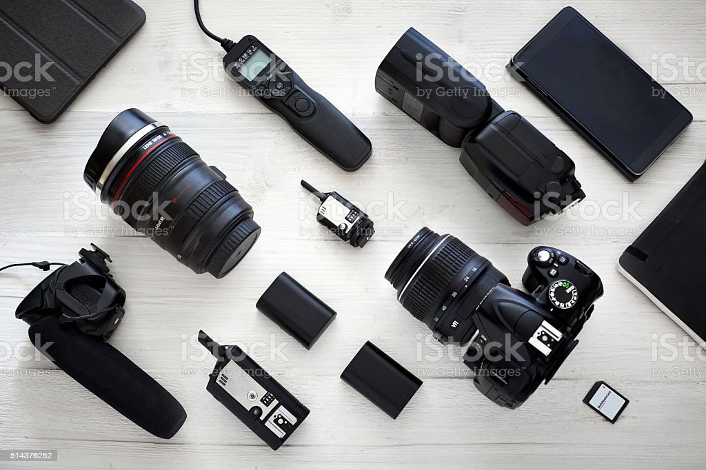Photographer videographer kit stock photo