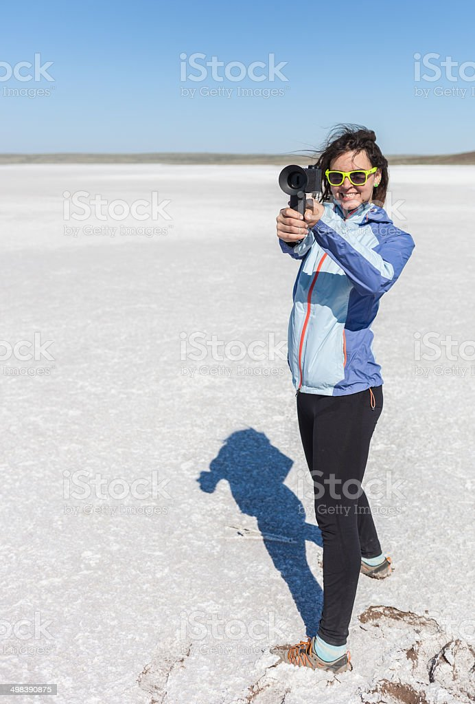 Photographer walks in the mountains and photographs neighborhood stock photo