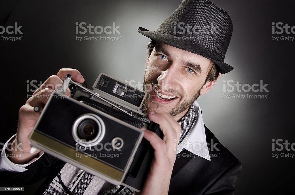 Photographer with a vintage camera stock photo