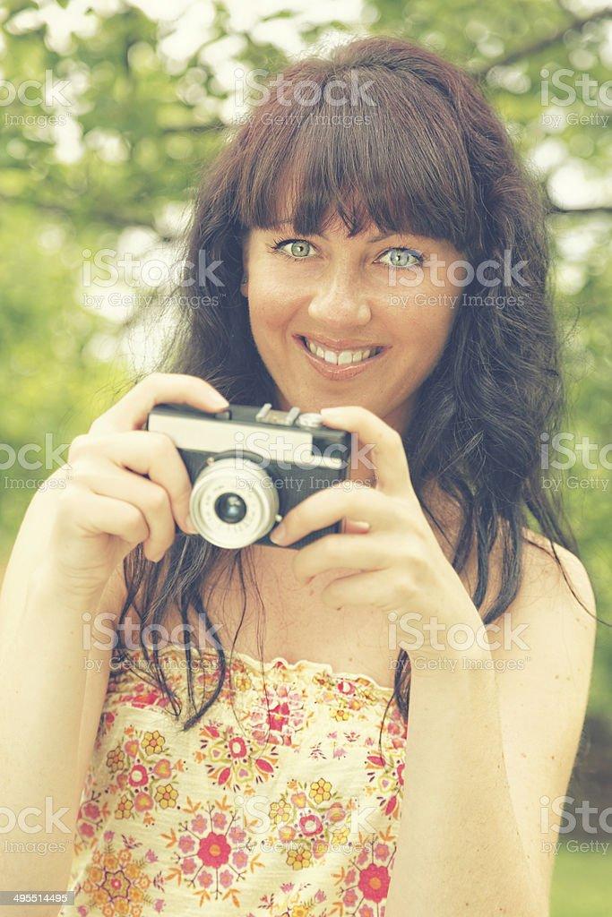 Photographer with film camera (xxxl) royalty-free stock photo