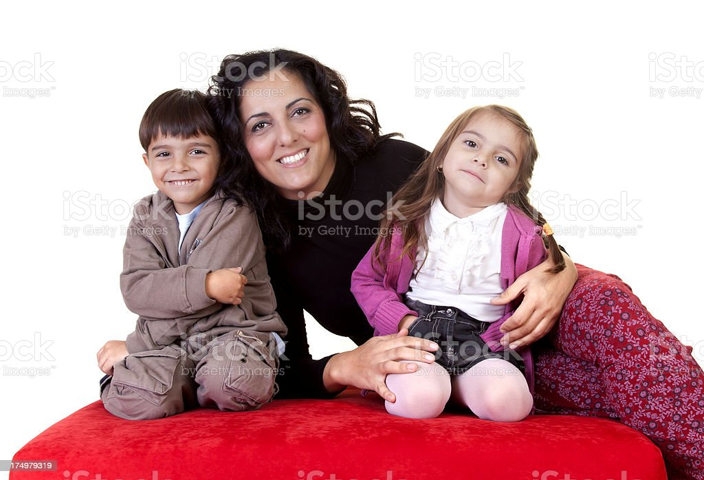 photographer woman and her's twins royalty-free stock photo