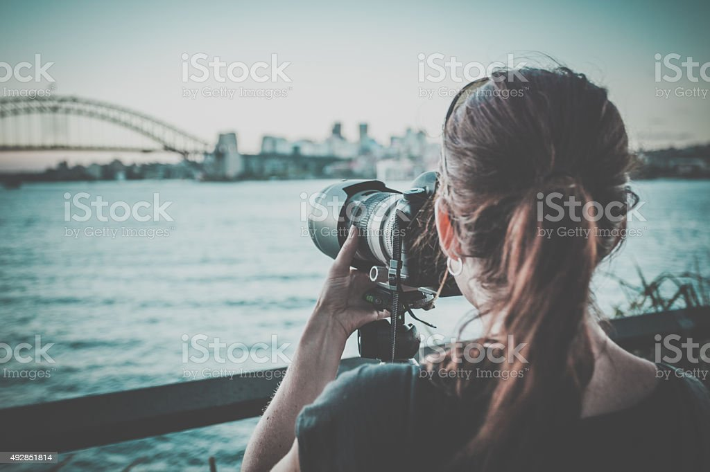 Photographer Woman Taking Pictures of Sydney City stock photo