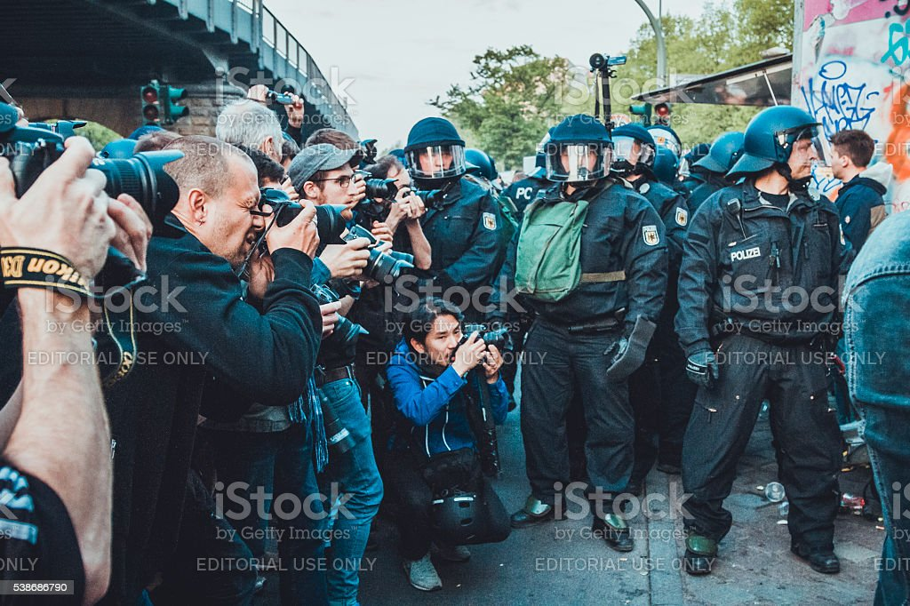 Photographers and Police stock photo