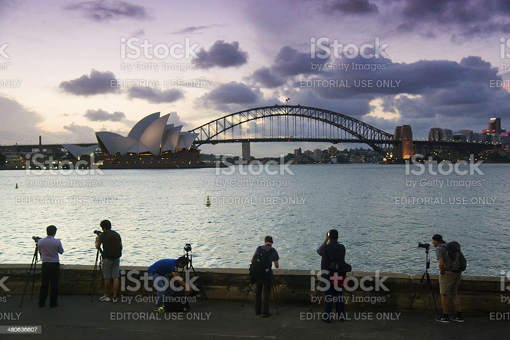 Photographers at Mrs Macquaries Point stock photo