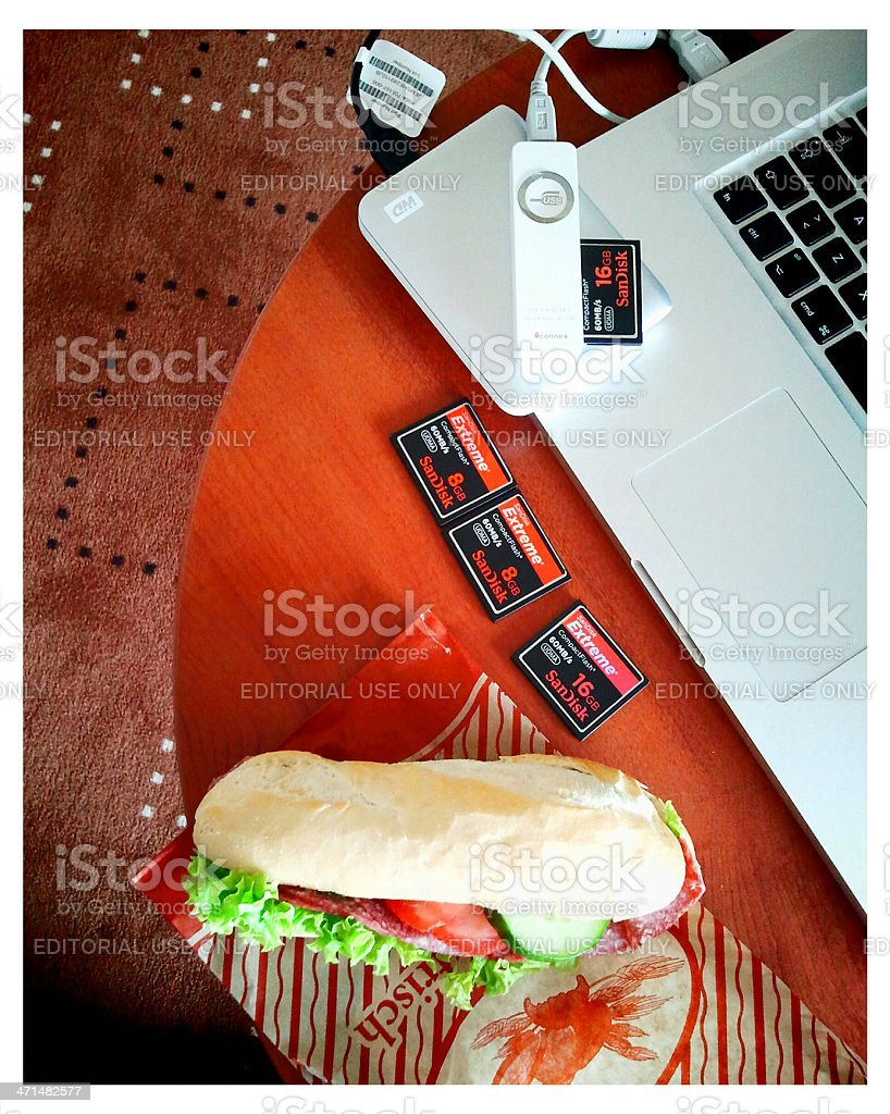 Photographer's lunch. stock photo
