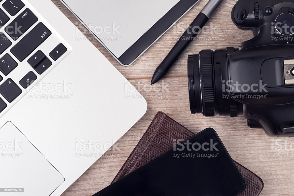Photographer's of graphic designer's workplace stock photo