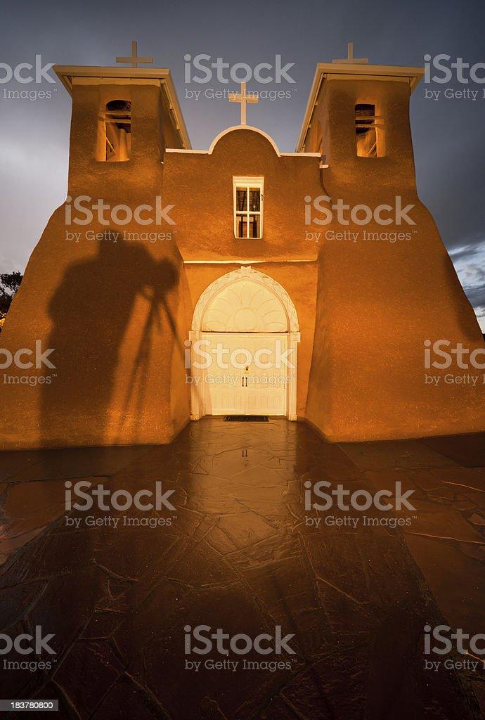 Photographer's Shadow on San Fracisco de Asis Mission stock photo