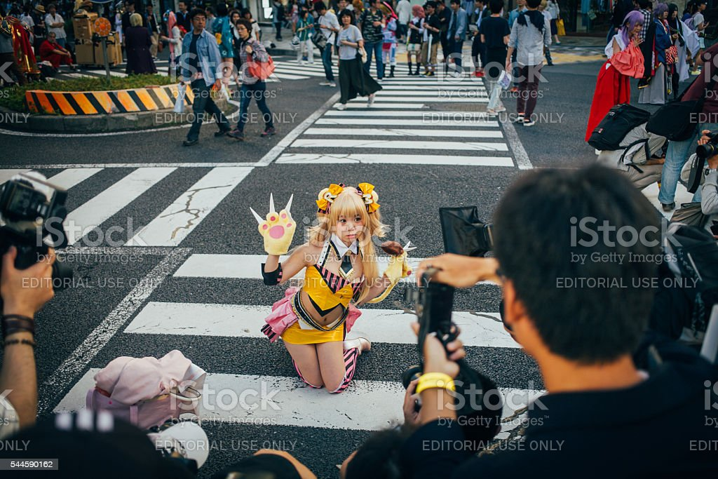 Photographers taking photos of a cosplayer in Nagoya stock photo
