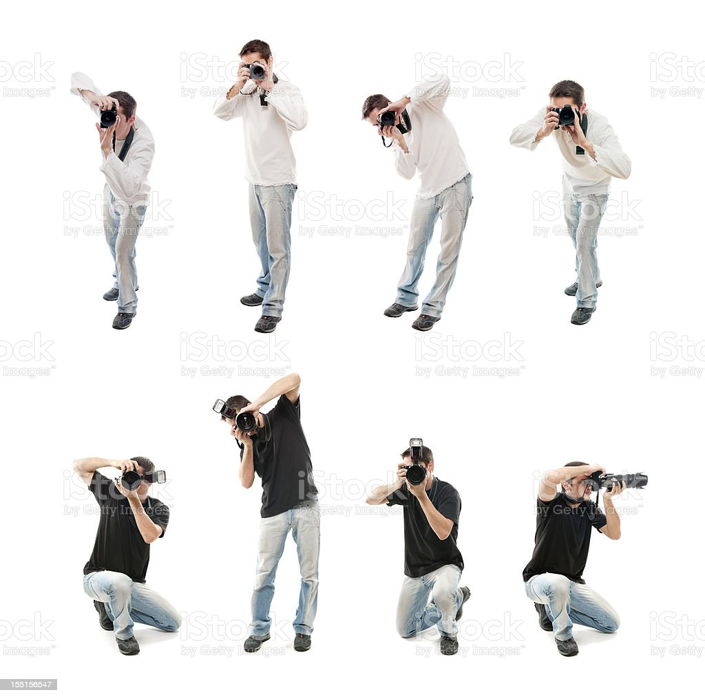 Photographers with camera, isolated on white stock photo