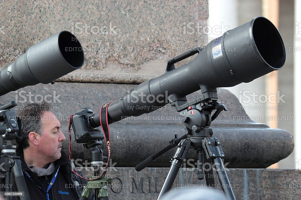 Photographers with long telephoto waiting for Pope Francis I royalty-free stock photo
