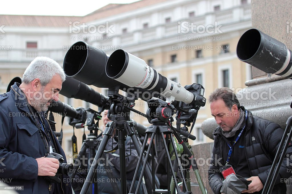 Photographers with long telephoto waiting for Pope Francis I stock photo