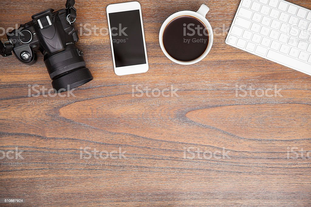 Photographer's workspace with copy space stock photo