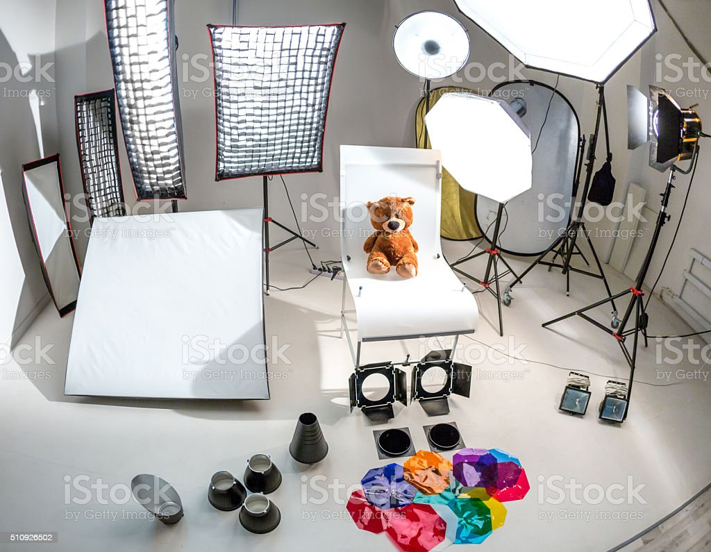 Photographic Equipment And Lighting For Studio stock photo