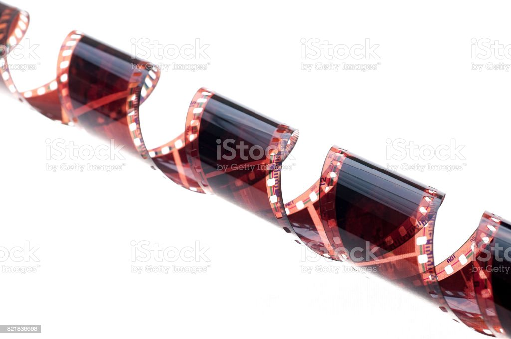 photographic film negative over white background stock photo