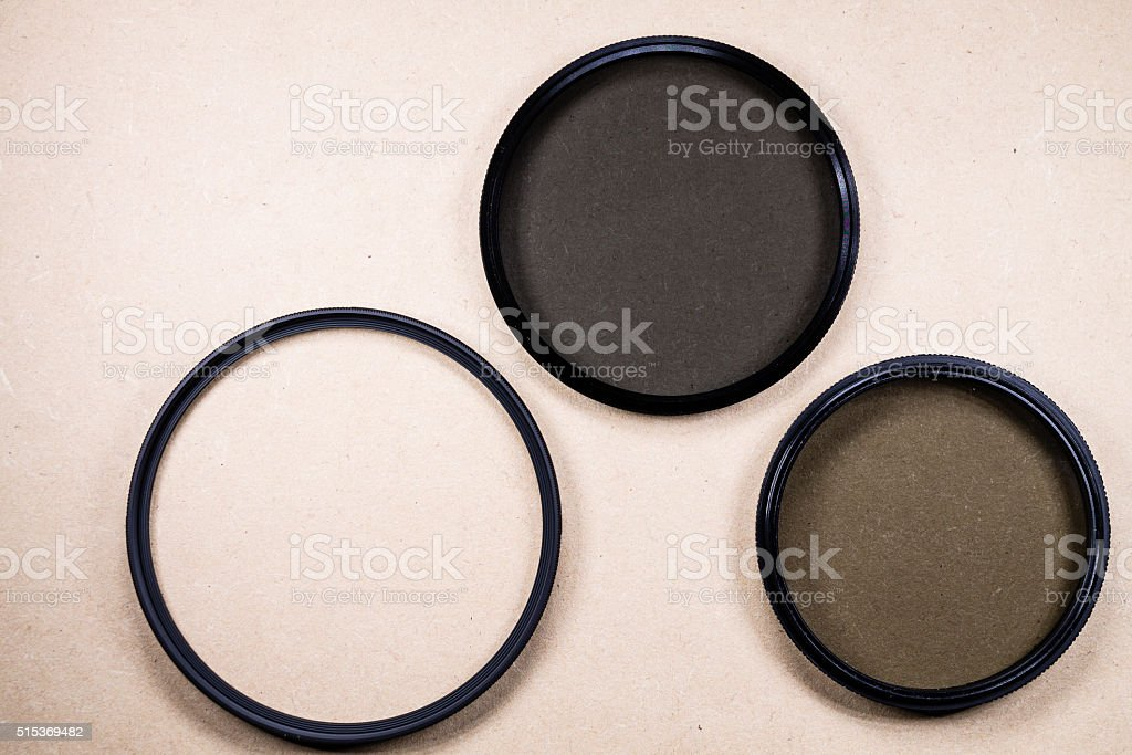 Photographic lens filter stock photo