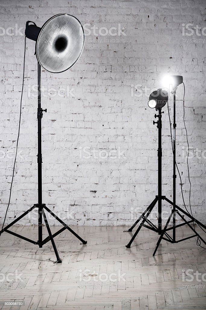 Photographic studio equipment and accessories stock photo
