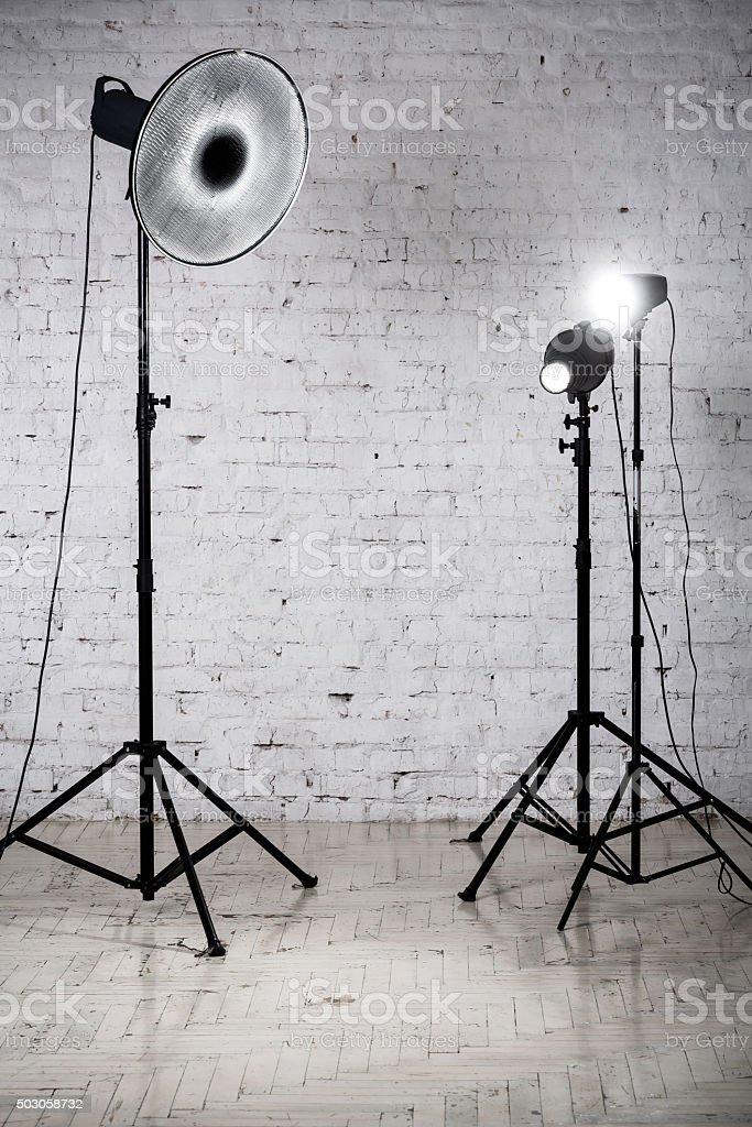 Photographic studio equipment and accessories stock photo