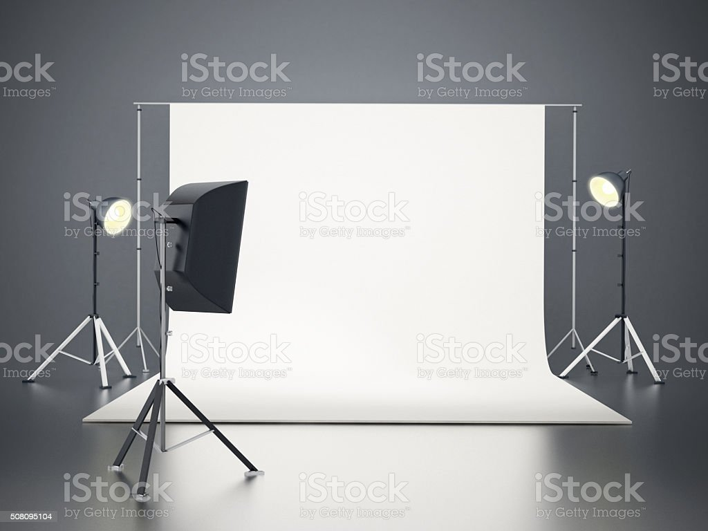 Photographic studio with lighting equipment.