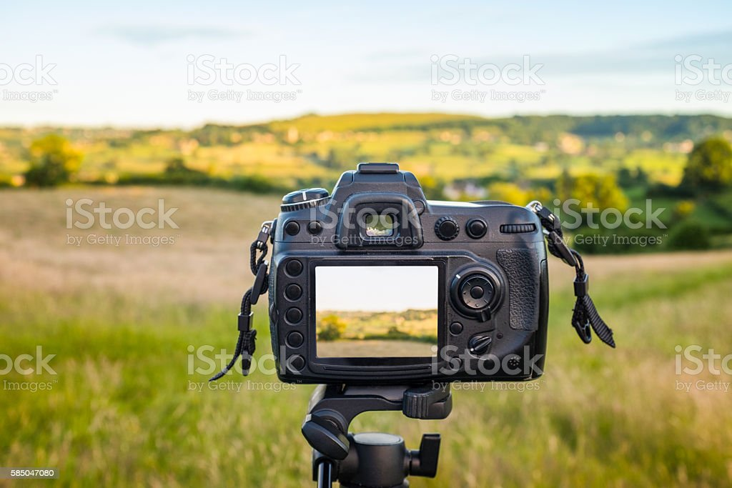 Photographing A Beautiful Rolling Landscape In The Cotswolds, England stock photo