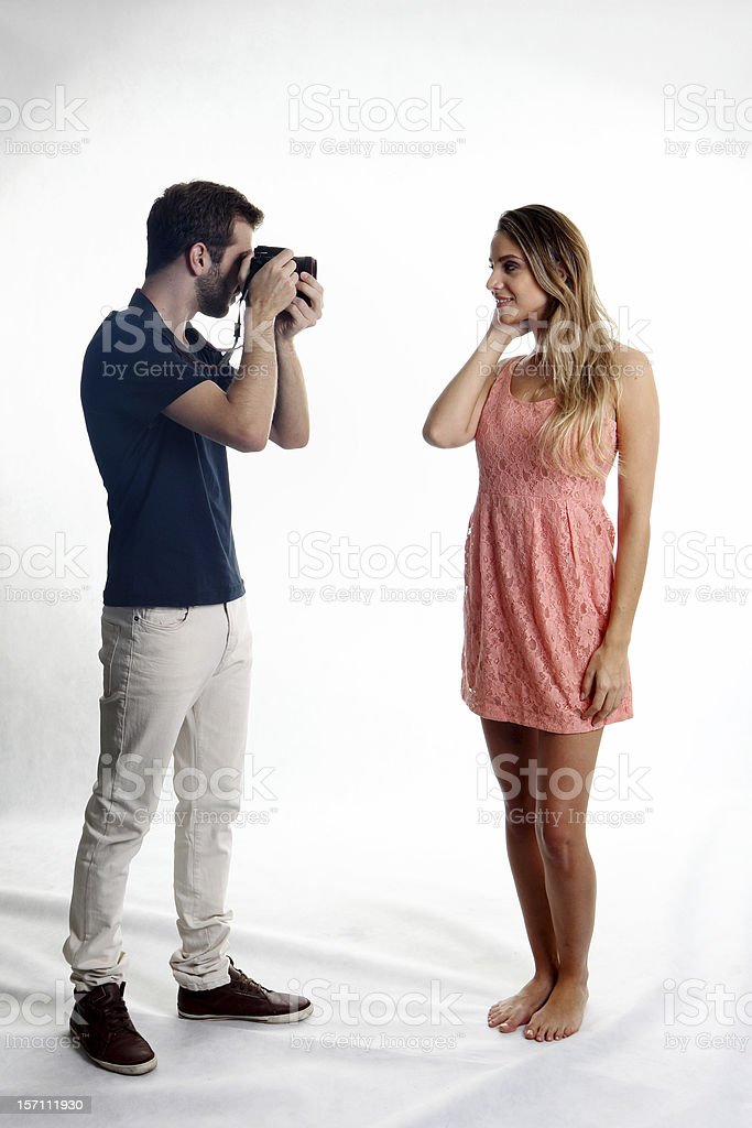 Photographing a woman model royalty-free stock photo
