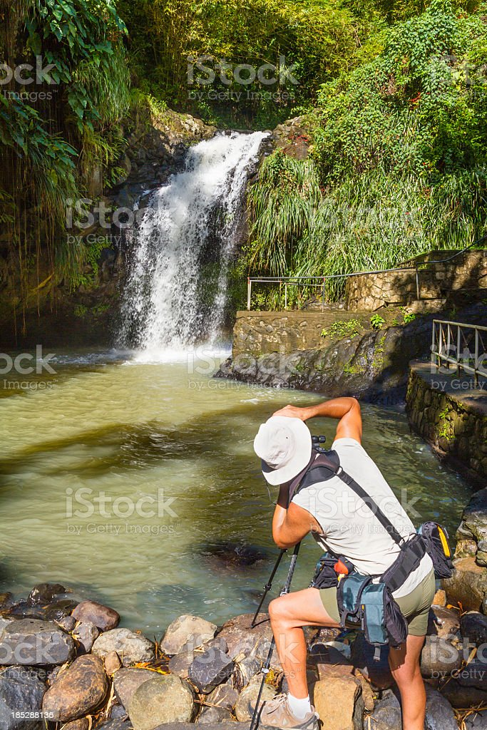 Photographing Annandale Falls, Grenada stock photo