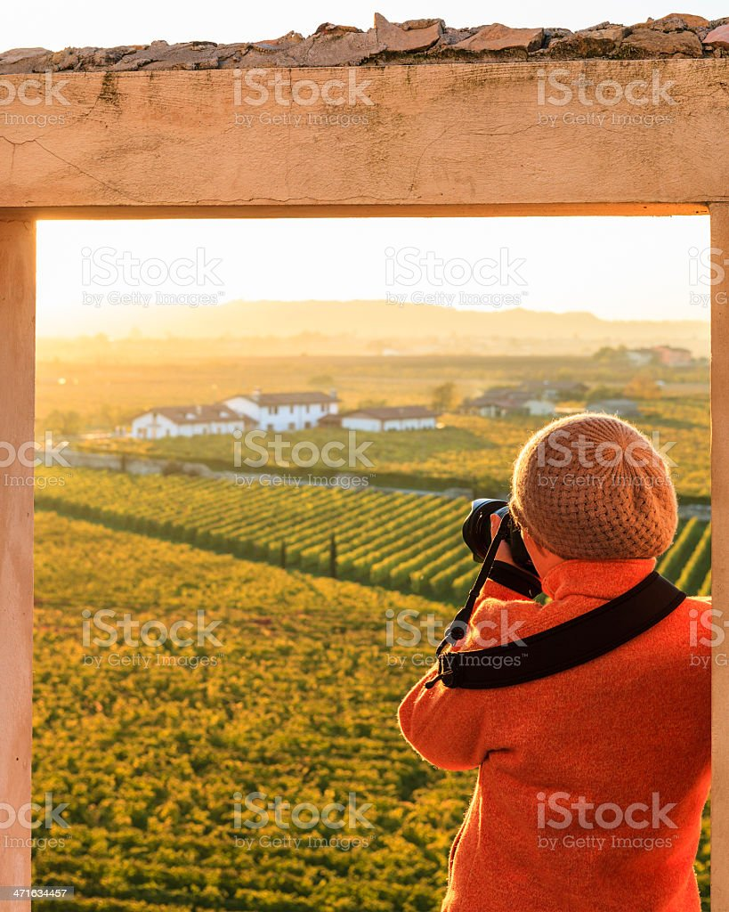 Photographing Autumn Landscape royalty-free stock photo